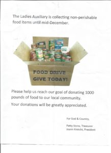 Post 757 Auxiliary Food Drive